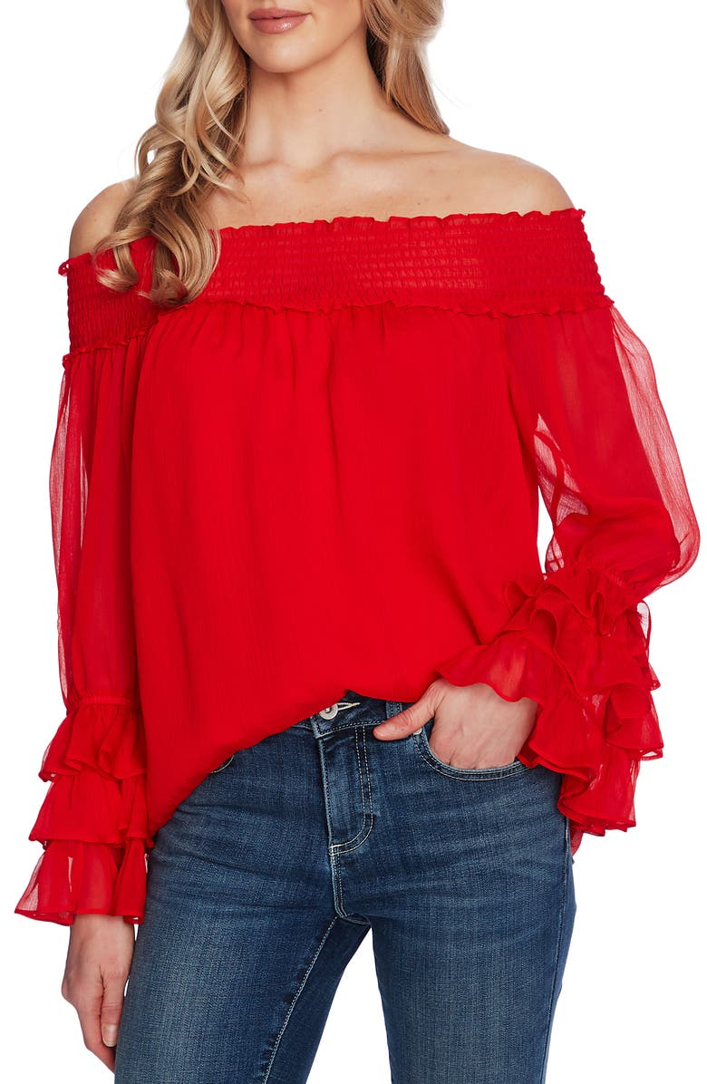 CECE Off the Shoulder Ruffle Cuff Blouse, Main, color, CHERRY ROSE