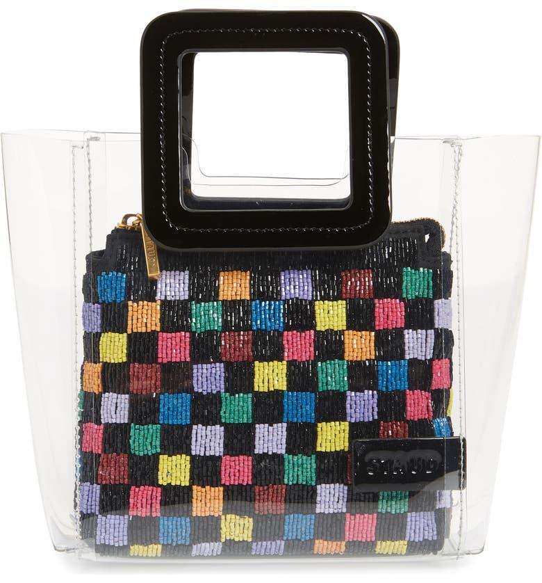 STAUD Mini Shirley Beaded Transparent Handbag, Main, color, 001