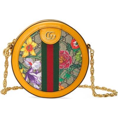 Gucci Mini Ophidia Floral Gg Supreme Canvas Crossbody Bag - Beige