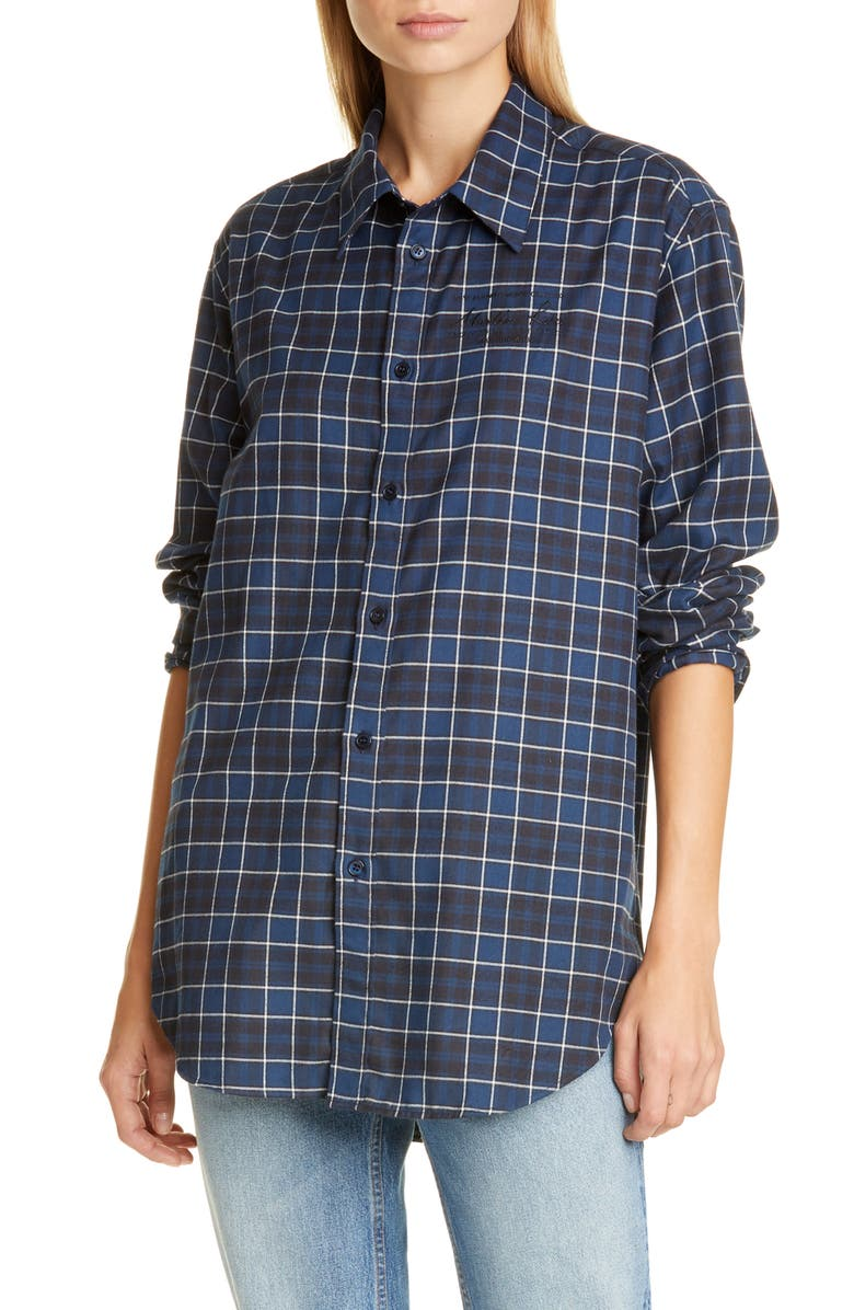 MARTINE ROSE Classic Button-Up Shirt, Main, color, BLACK/ WHITE/ BLUE CHECK