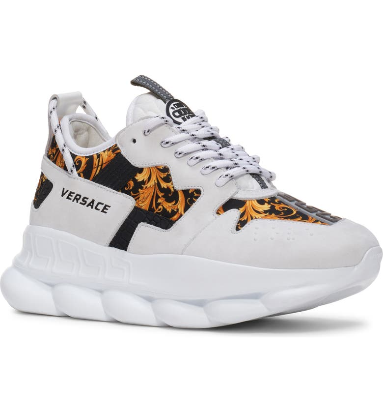 VERSACE Chain Reaction Sneaker, Main, color, 100