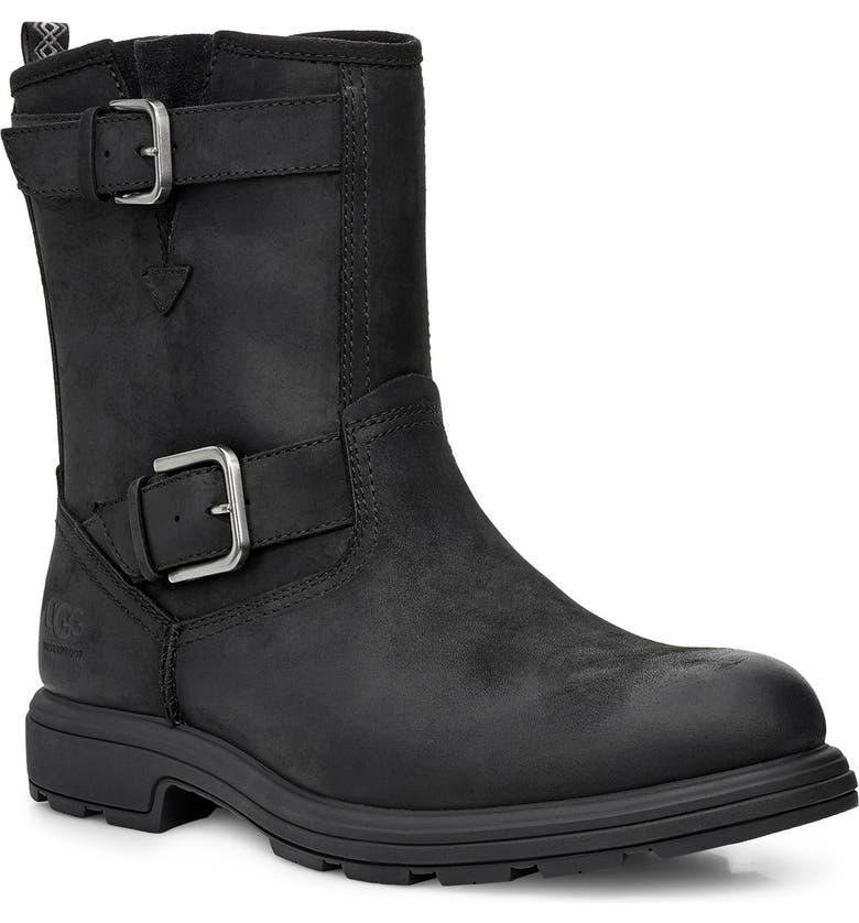 UGG<SUP>®</SUP> Biltmore Waterproof Moto Boot, Main, color, BLACK