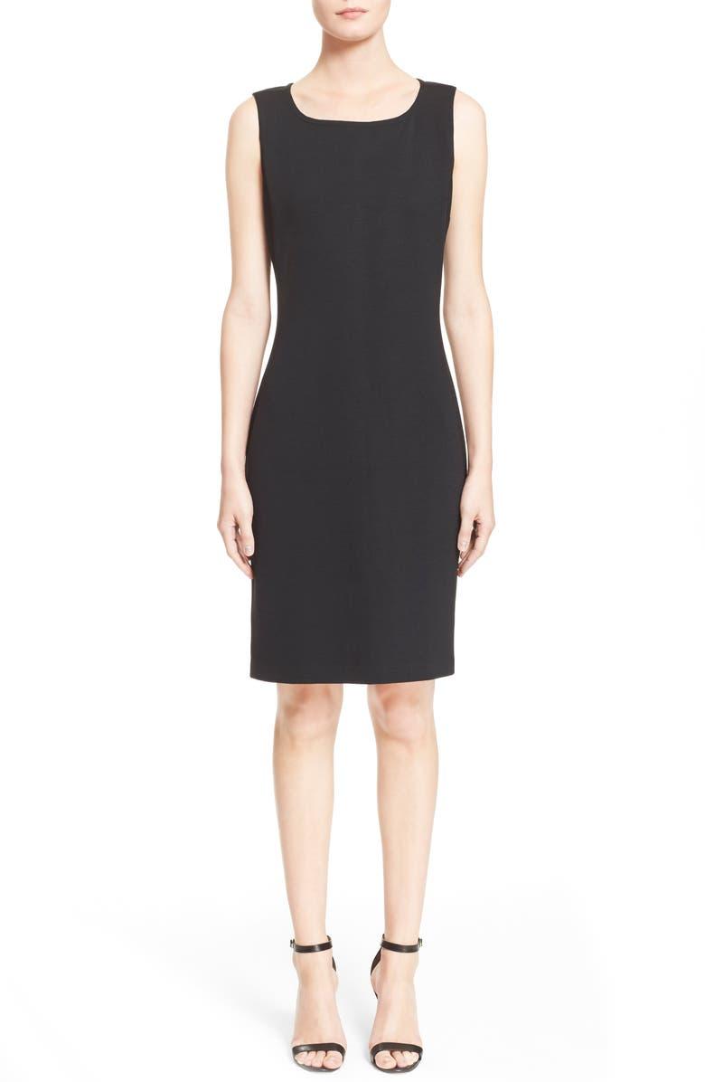 ST. JOHN COLLECTION Milano Knit Sheath Dress, Main, color, CAVIAR