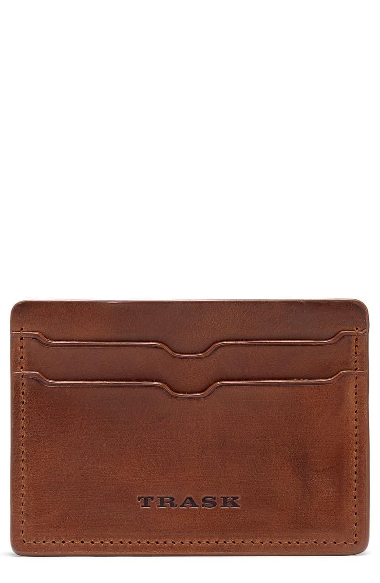 TRASK Sutton Card Case, Main, color, TAN