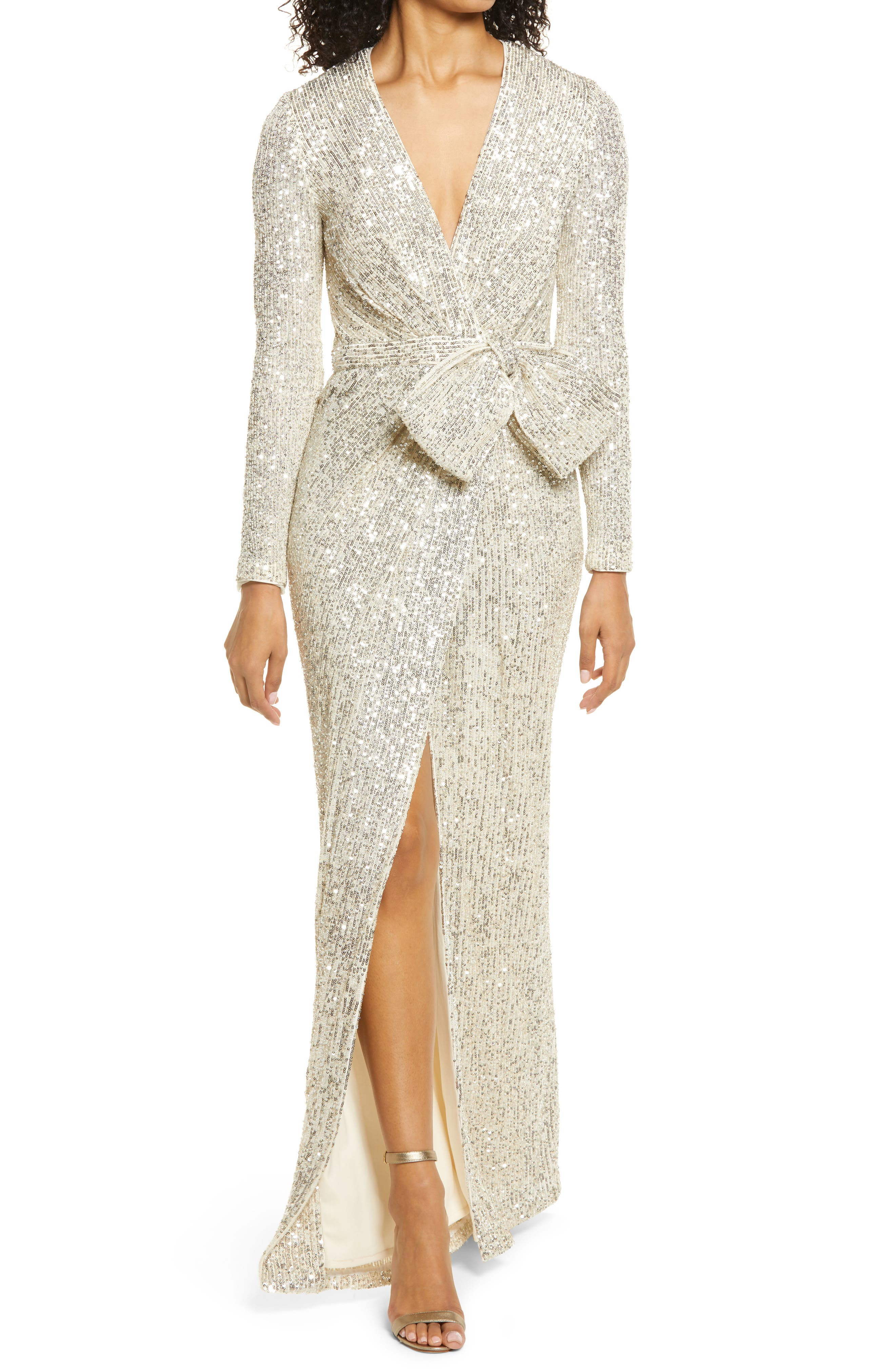 Sequin Wrap Front Long Sleeve Gown