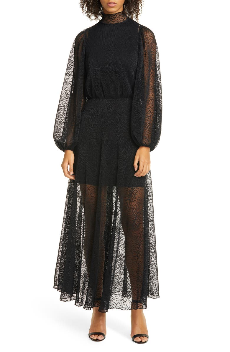 BEAUFILLE Costello Long Sleeve Micropleated Lace Maxi Dress, Main, color, 001