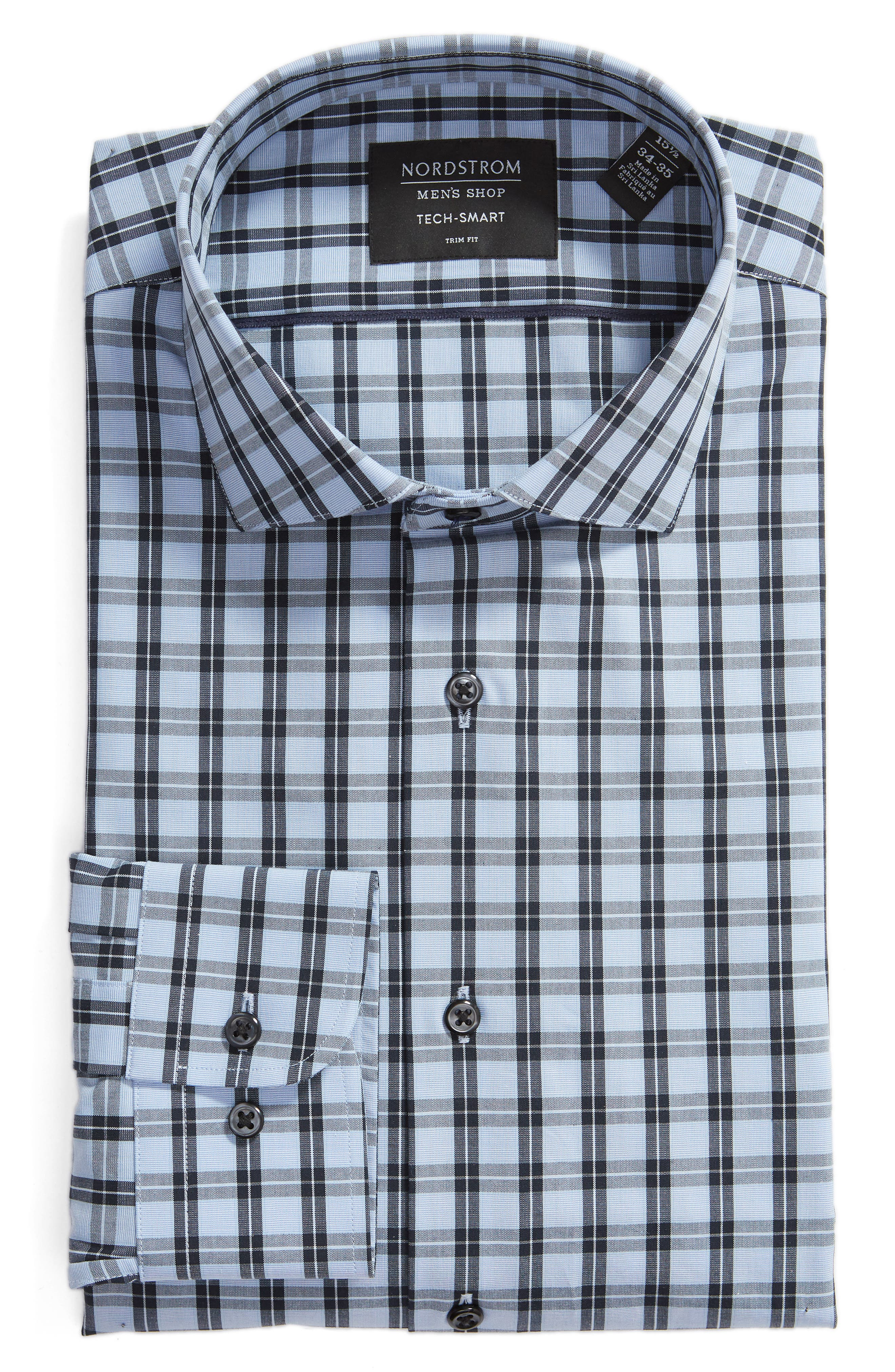 ,                             Tech-Smart Trim Fit Stretch Check Dress Shirt,                             Alternate thumbnail 5, color,                             NAVY DUSK
