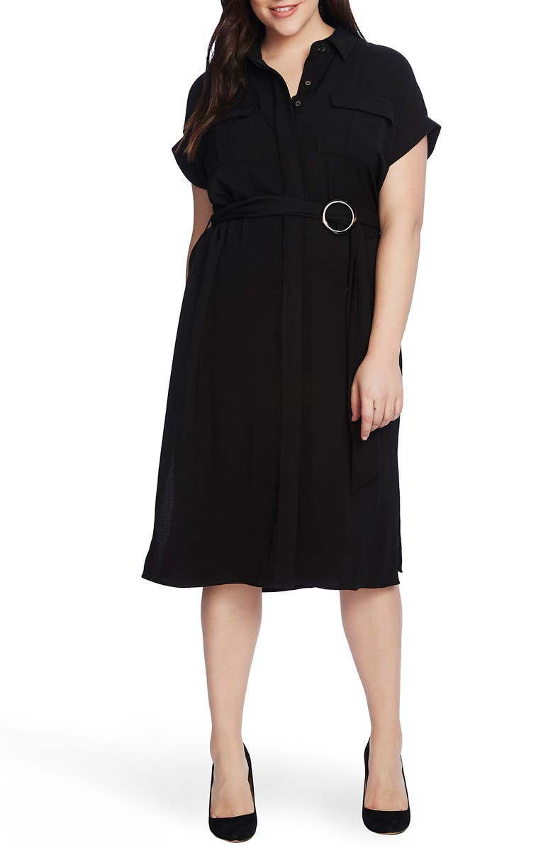 VINCE CAMUTO Rumple Twill Belted Midi Dress, Main, color, 001