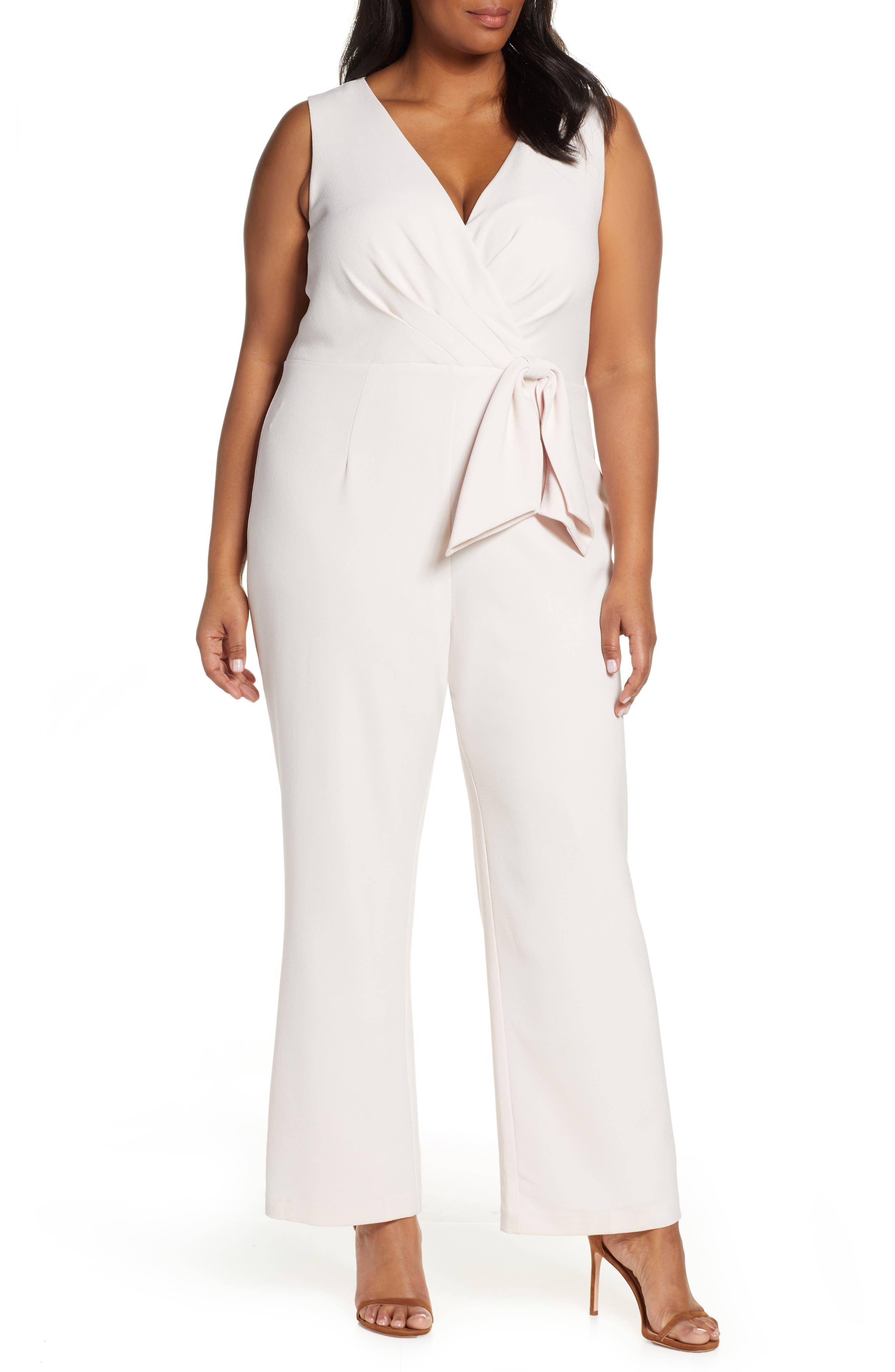 70s Dresses – Disco Dress, Hippie Dress, Wrap Dress Plus Size Womens Eliza J Faux Wrap Jumpsuit $100.80 AT vintagedancer.com