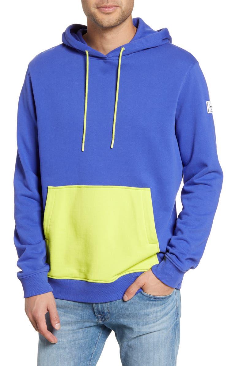 HERSCHEL SUPPLY CO. Hooded Sweatshirt, Main, color, ROYAL BLUE/ SULPHUR SPRING
