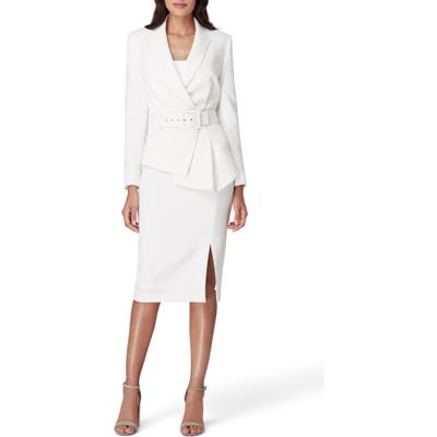 Tahari Two-Piece Asymmetrical Belted Suit, White