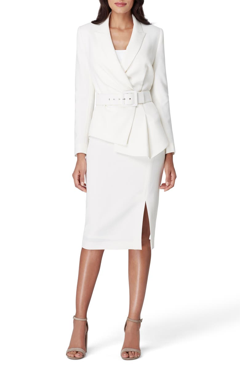 TAHARI Two-Piece Asymmetrical Belted Suit, Main, color, IVORY