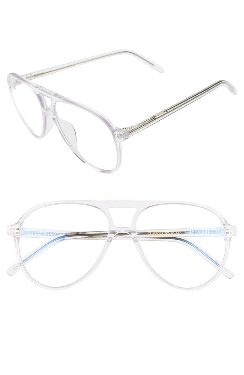 DIFF x Jonathan Van Ness Tosca Aviator Blue Light Blocking Sunglasses, Main, color, CLEAR/ CLEAR