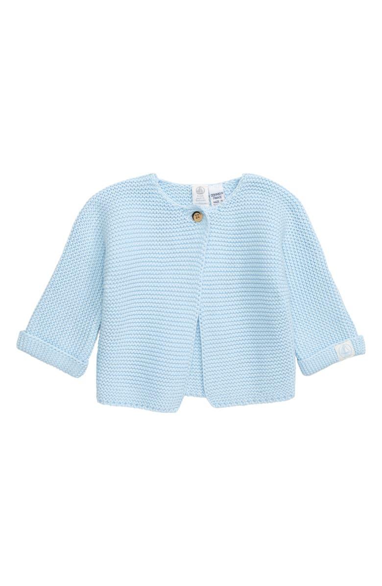 PETIT BATEAU Chunky Knit Cardigan, Main, color, BLUE