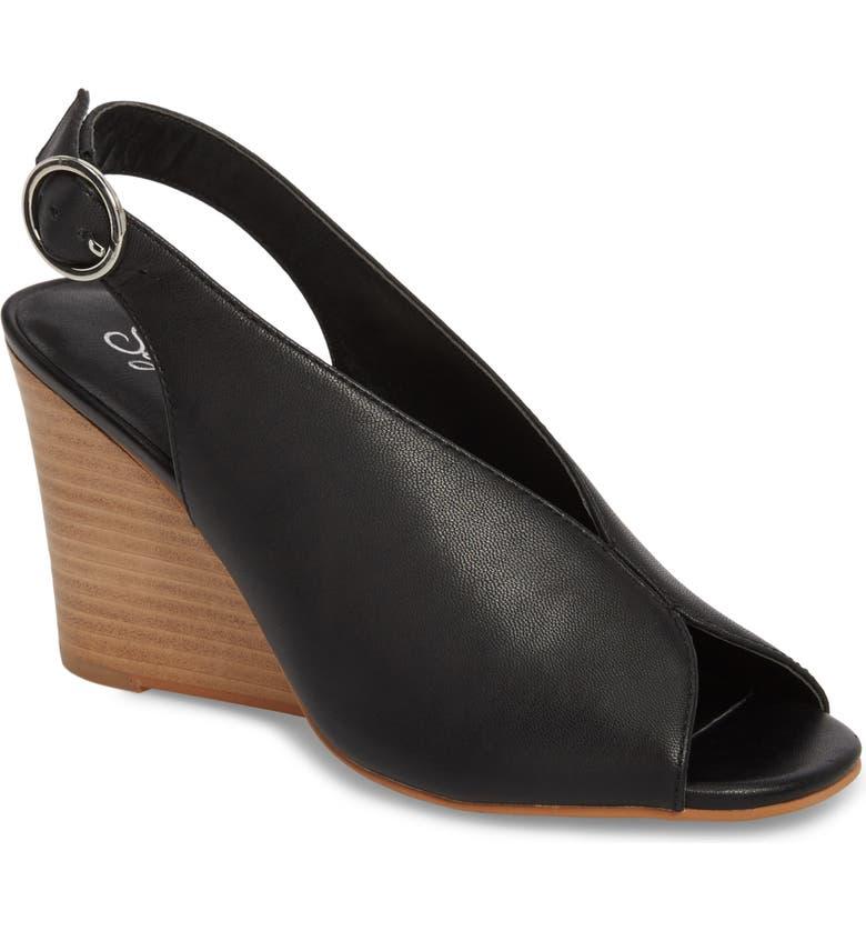SEYCHELLES Dazzling Wedge Sandal, Main, color, BLACK LEATHER