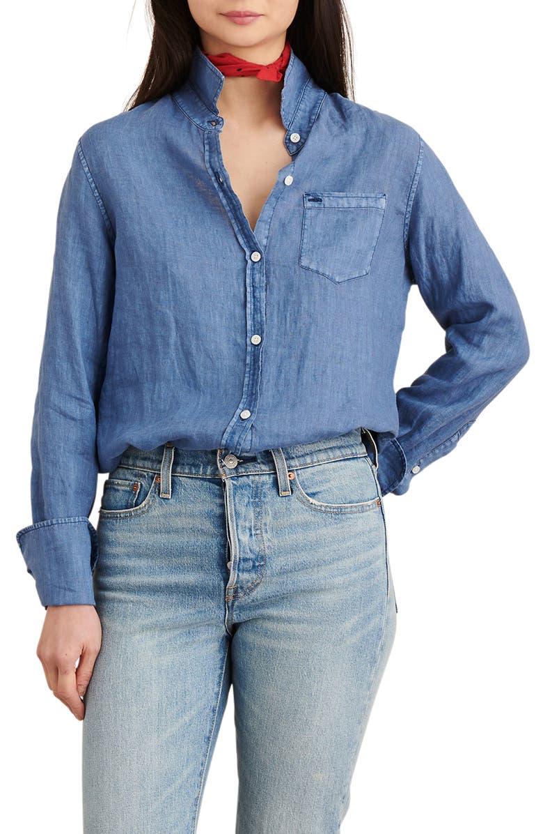 ALEX MILL Standard Linen Button-Up Shirt, Main, color, INDIGO