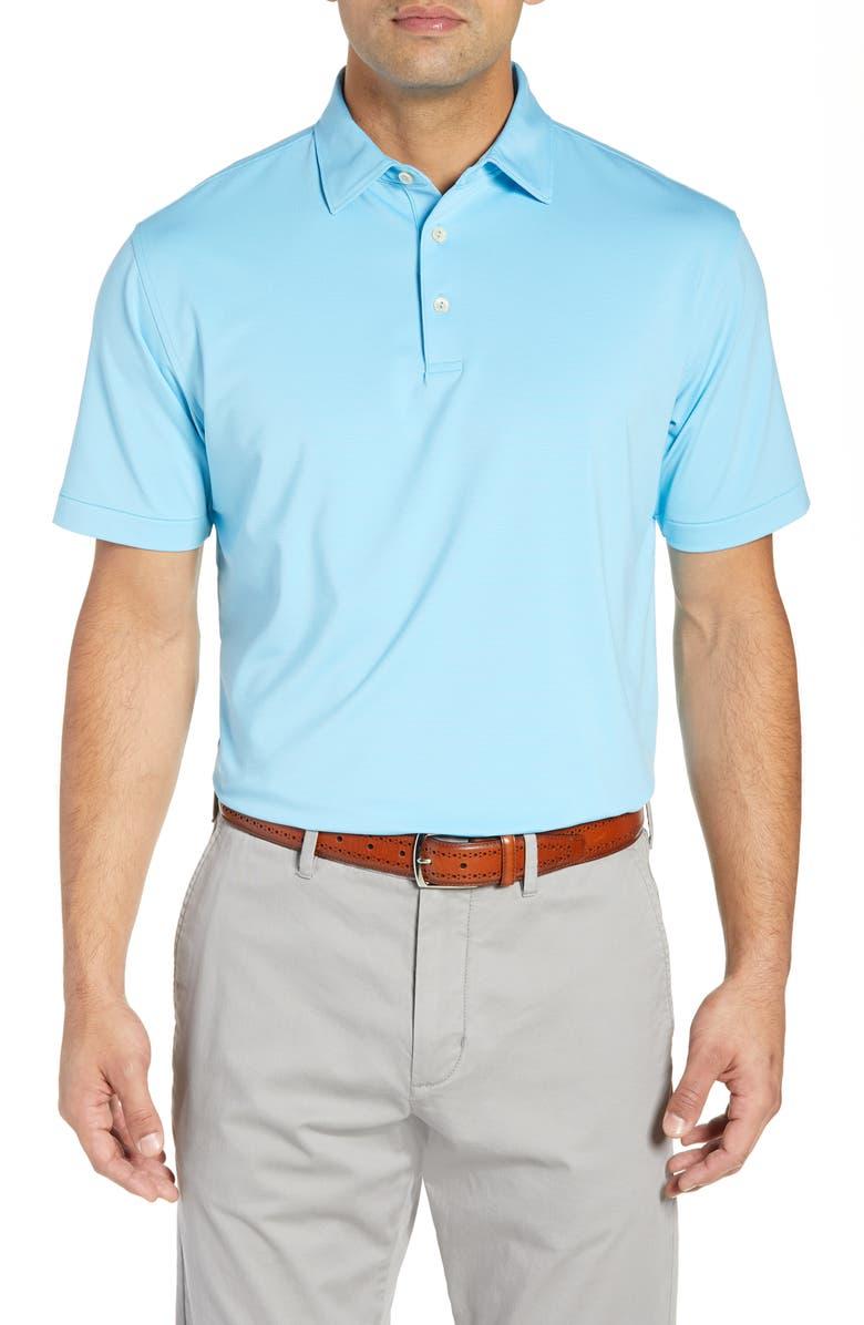 PETER MILLAR Jubilee Regular Fit Stripe Jersey Polo, Main, color, BLUE FISH