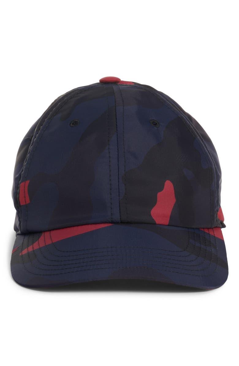VALENTINO Camo Baseball Cap, Main, color, MARINE/ SCARLET
