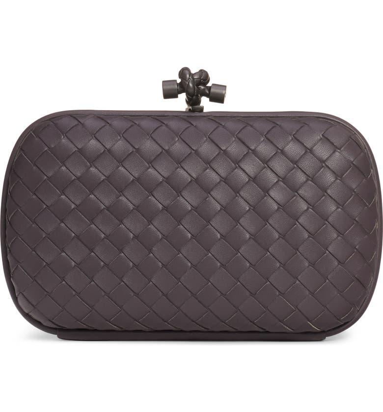 BOTTEGA VENETA Intrecciato Leather Knot Clutch, Main, color, QUETSCHE/ BRUNITO