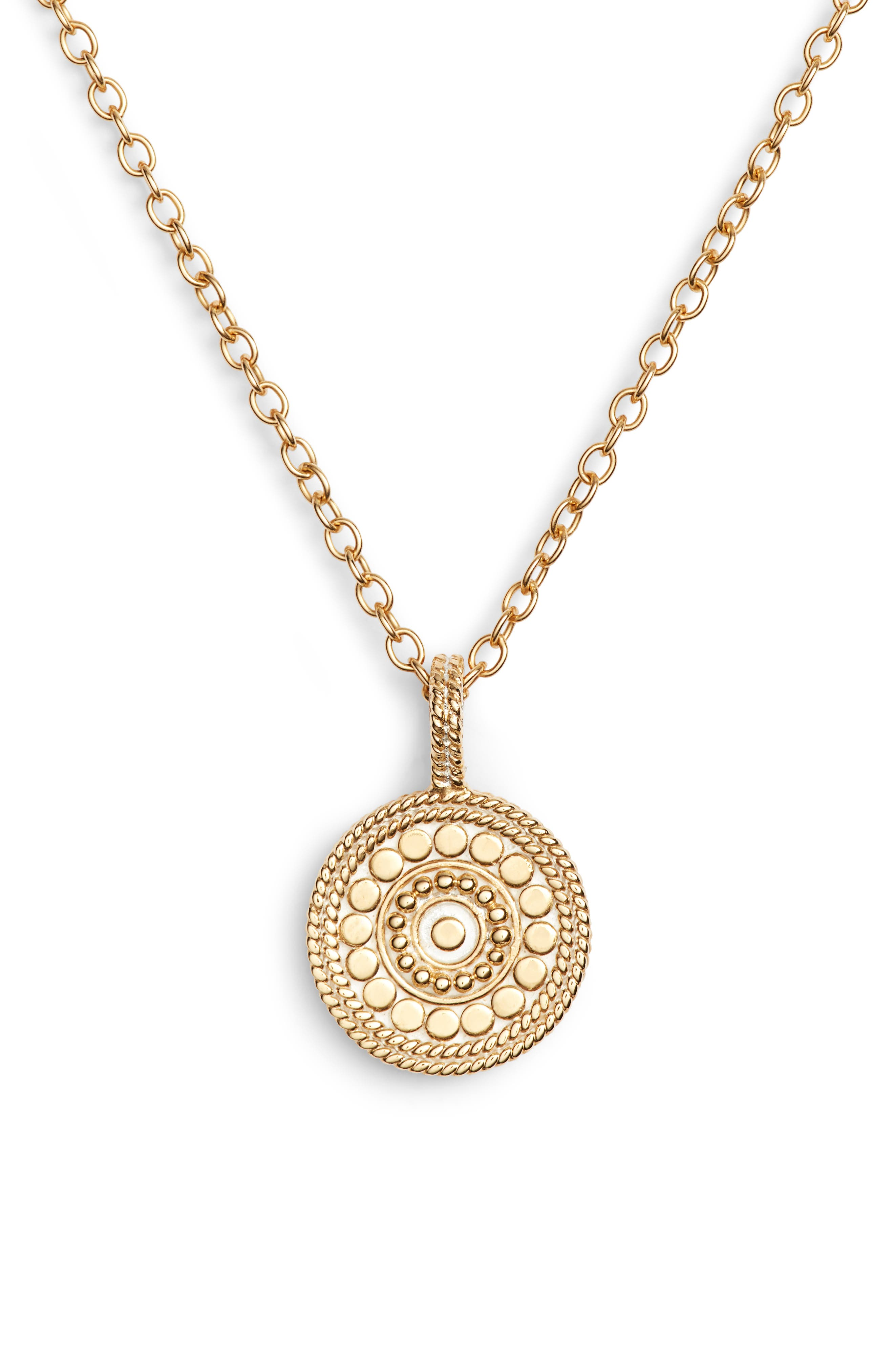 Beaded Reversible Circle Pendant Necklace
