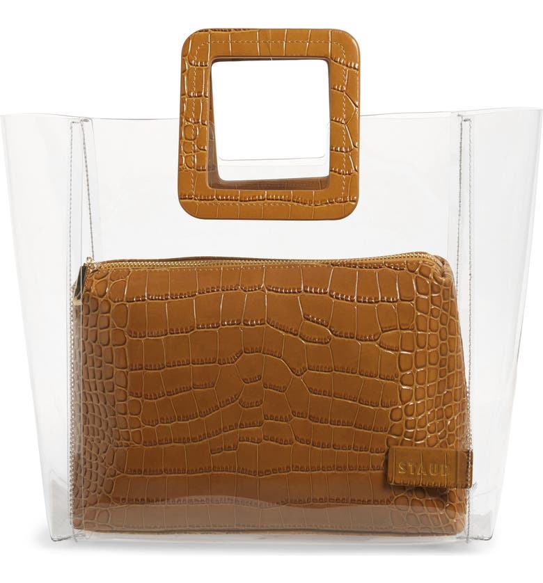 STAUD Shirley Transparent Tote, Main, color, CLEAR/ TAN