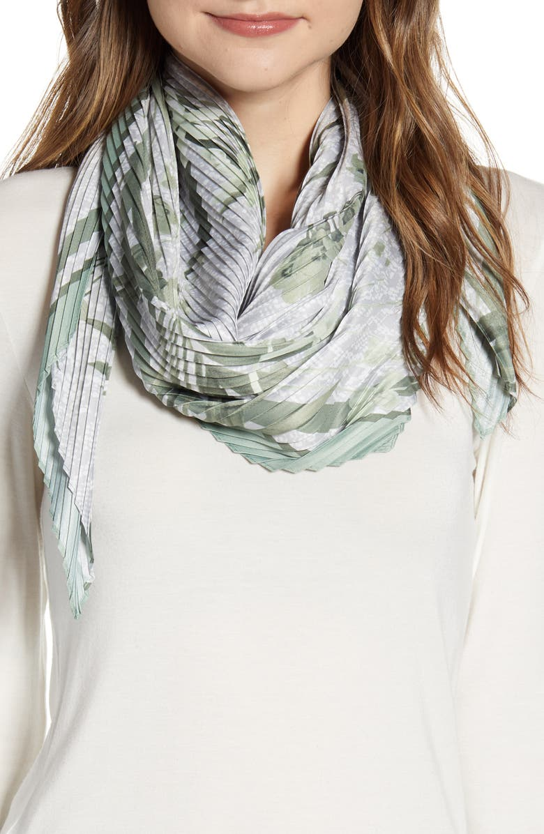 TED BAKER LONDON Hillary Highland Pleat Diamond Scarf, Main, color, GREY