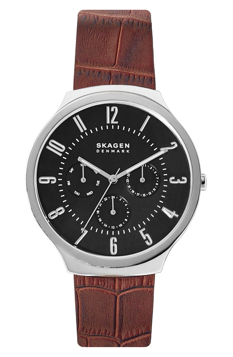 SKAGEN Grenen Leather Strap Watch, 38mm, Main, color, BROWN/ BLACK/ SILVER