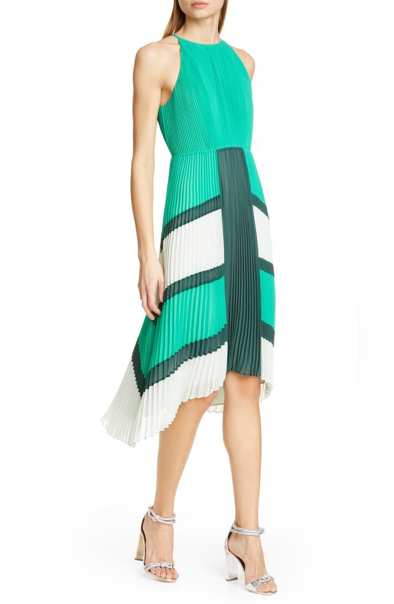 TED BAKER LONDON Nellina Pleated Midi Dress, Main, color, BRIGHT GREEN