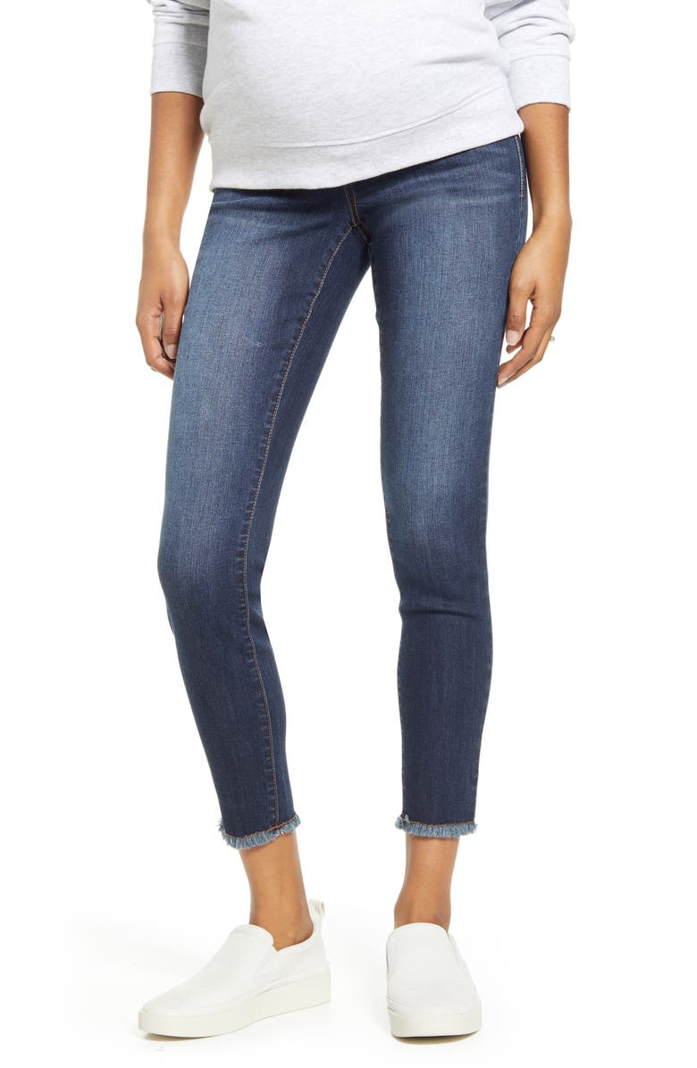1822 DENIM Fray Ankle Skinny Maternity Jeans, Main, color, LENNOX