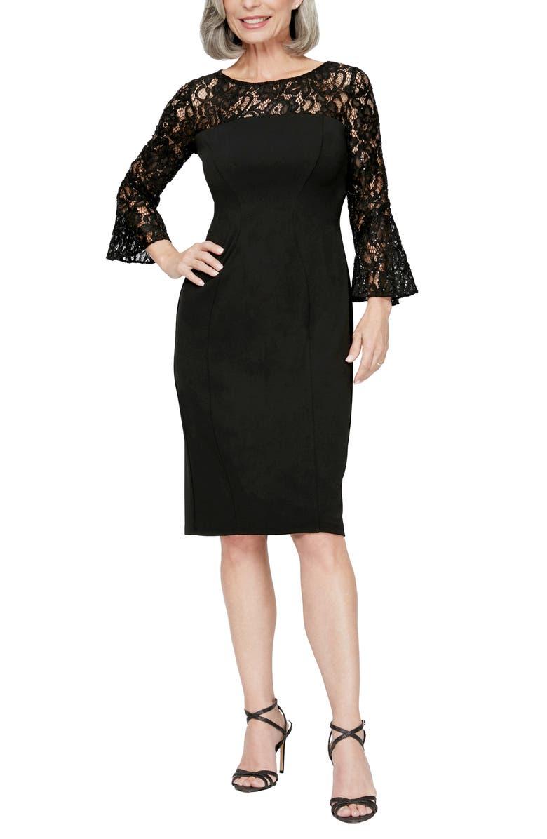 ALEX EVENINGS Long Sleeve Lace Detail Cocktail Sheath Dress, Main, color, BLACK