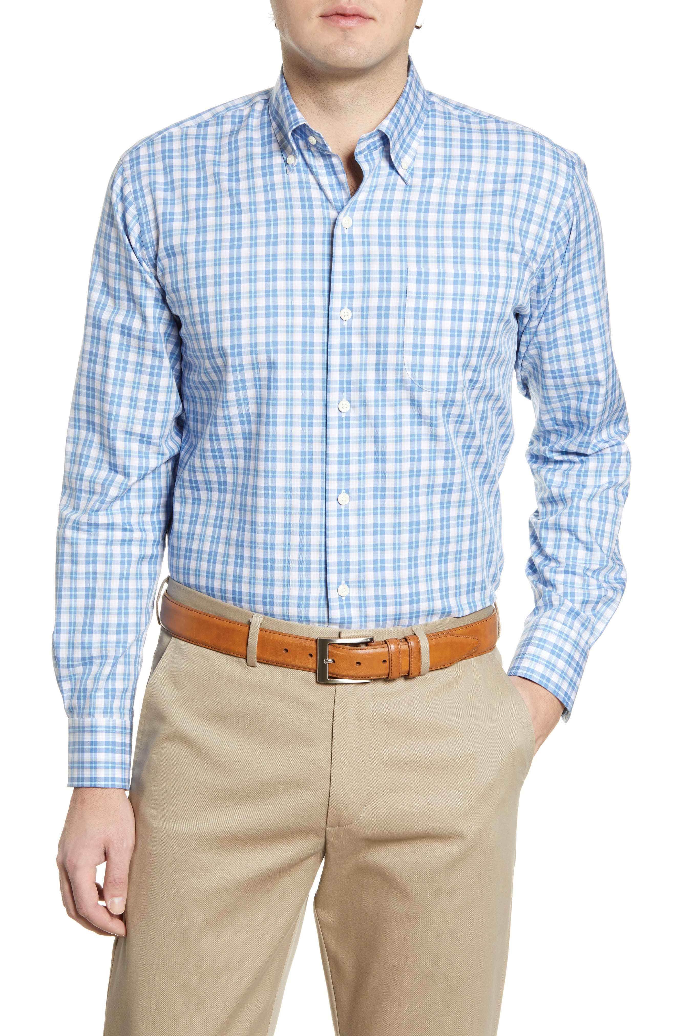 Charming plaid touches up a versatile shirt cut from lightweight cotton and fitted with a button-down collar and rounded, adjustable button cuffs. Style Name: Peter Millar Langley Grand Classic Fit Plaid Button-Down Shirt. Style Number: 5990404. Available in stores.