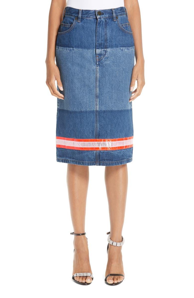 CALVIN KLEIN 205W39NYC Reflective Stripe Mixed Wash Denim Skirt, Main, color, 400