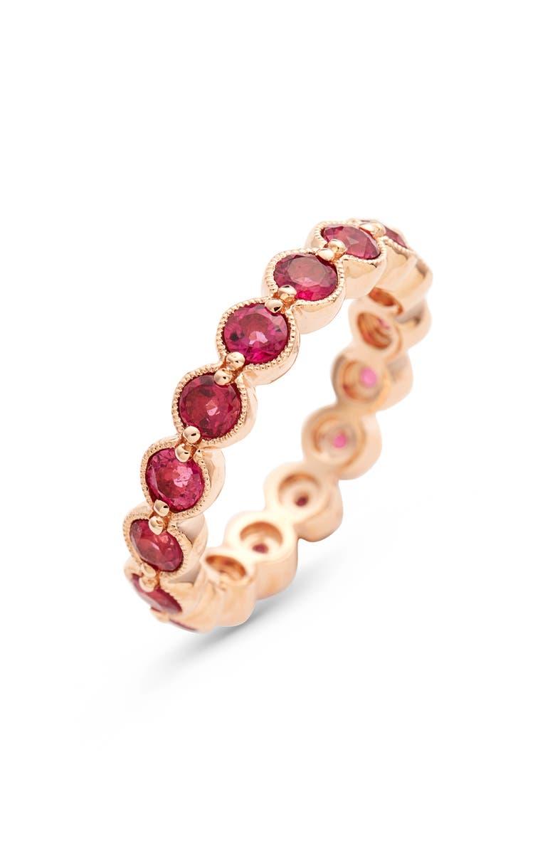 BONY LEVY Pink Tourmaline Bezel Set Eternity Ring, Main, color, ROSE GOLD/ PINK TOURMALINE