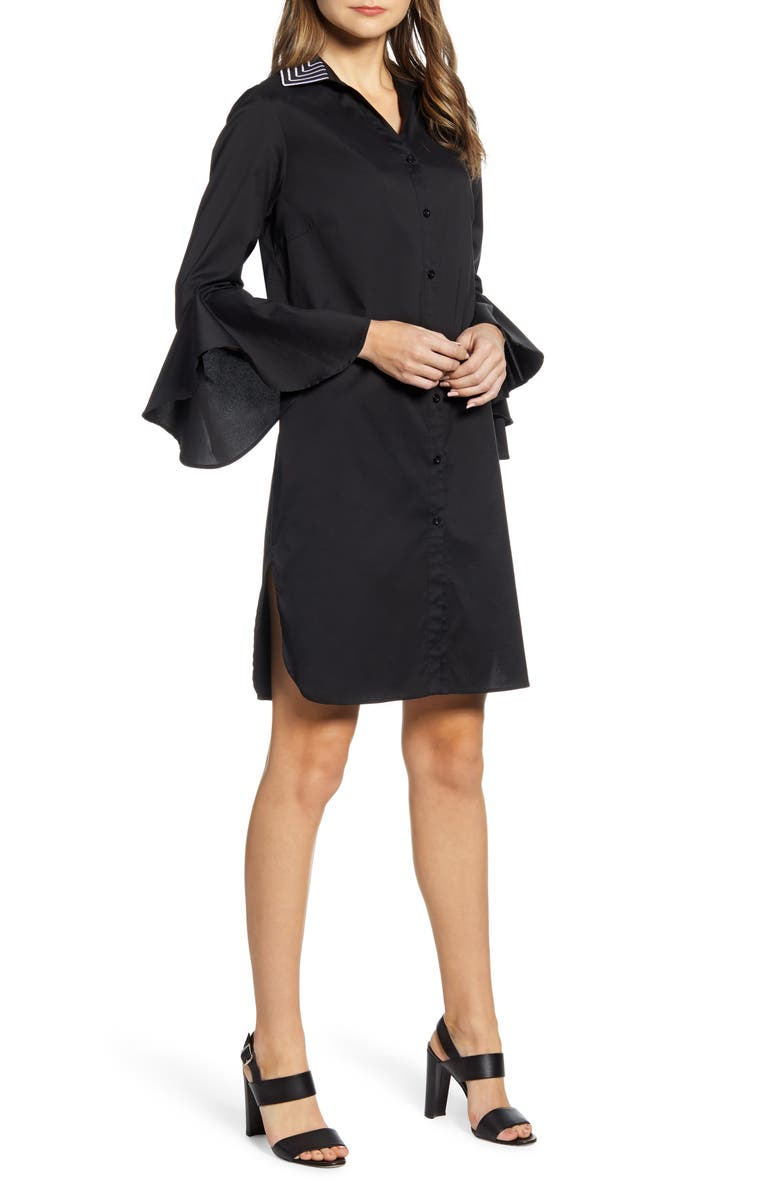 MING WANG A-Line Shirtdress, Main, color, BLACK
