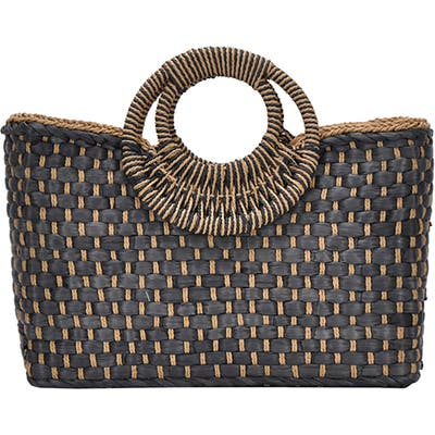 Antik Kraft Woven Straw Satchel - Black