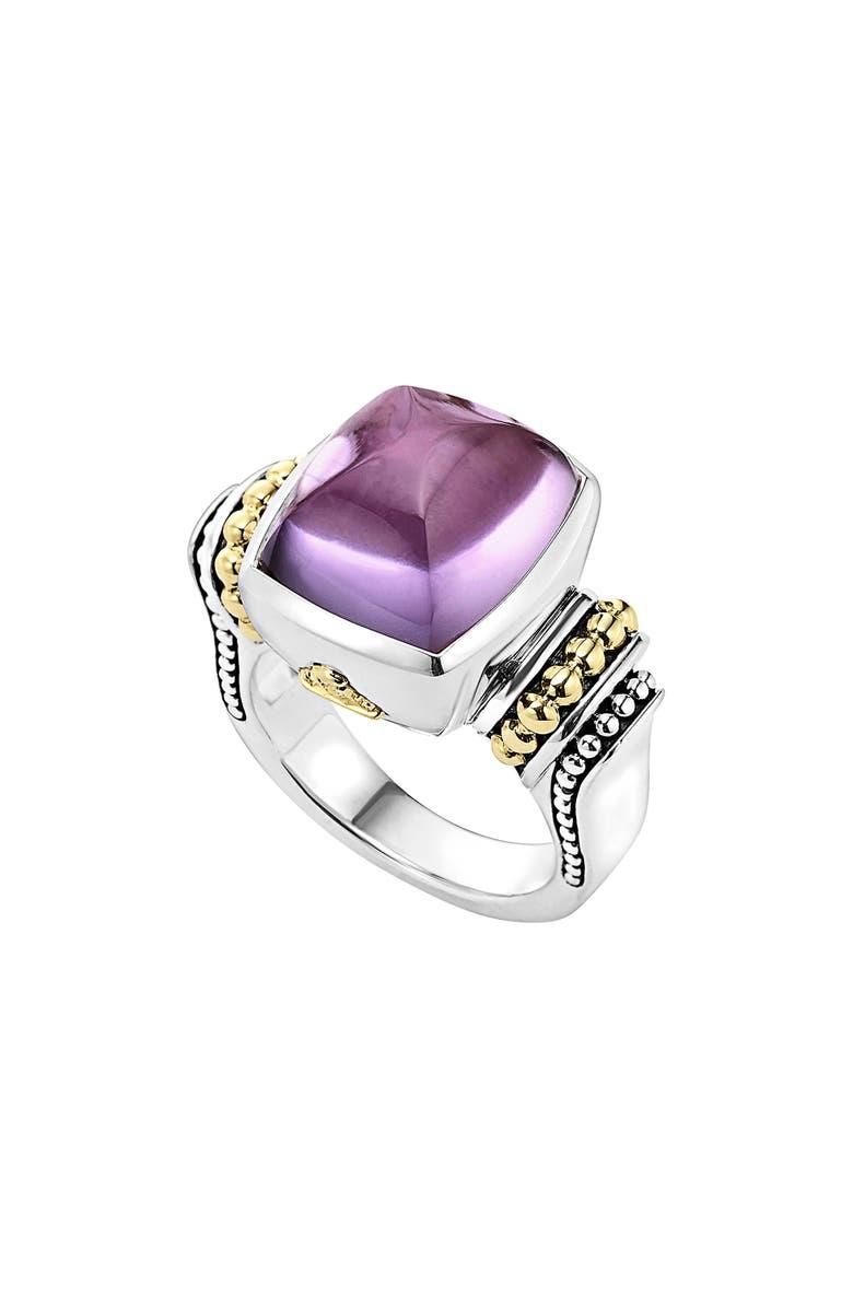 LAGOS 'Caviar Color' Medium Semiprecious Stone Ring, Main, color, AMETHYST