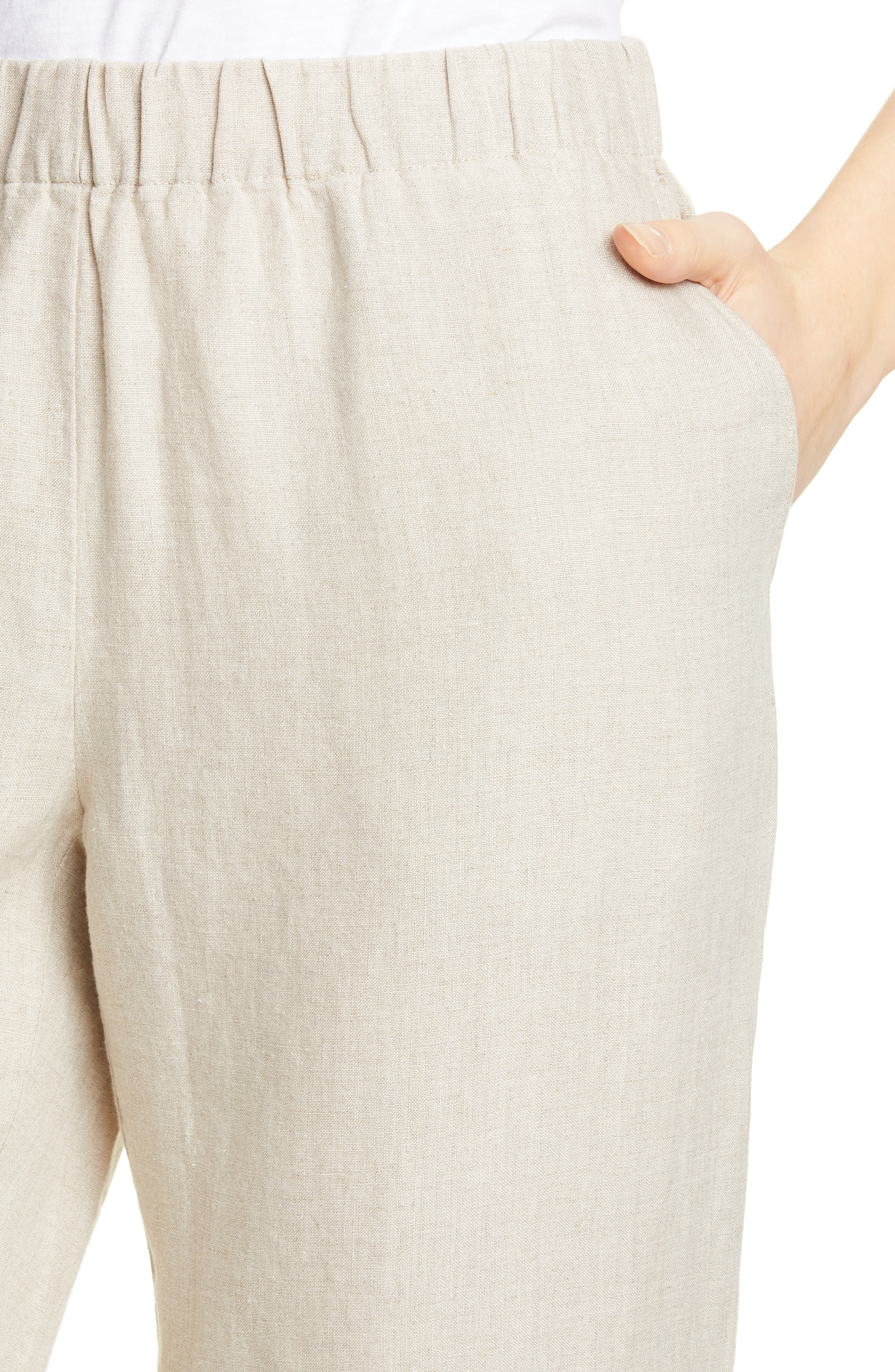 ,                             Tapered Linen Ankle Pants,                             Alternate thumbnail 5, color,                             UNDYED NATURAL
