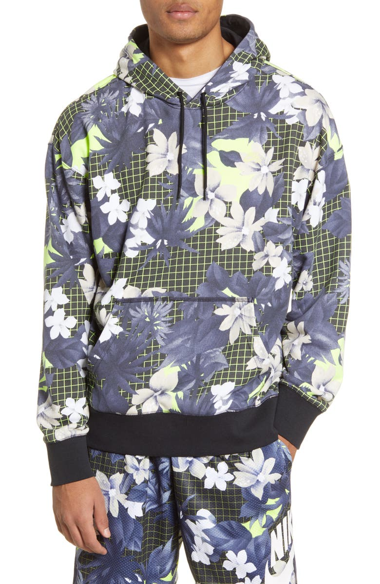 NIKE SB Paradise Floral Print Hoodie, Main, color, BLACK/ BLACK/ LIMELIGHT