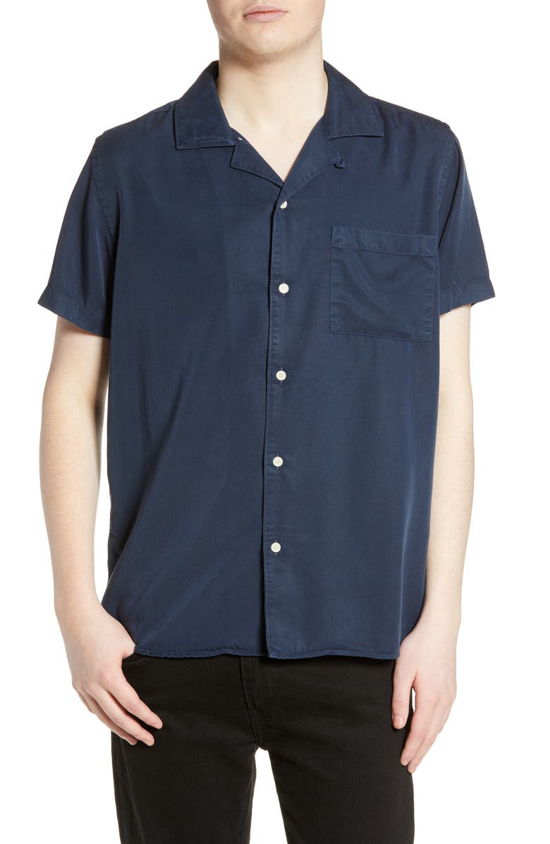 WAX LONDON Fazely Tencel<sup>®</sup> Slim Fit Camp Shirt, Main, color, DEEP OCEAN