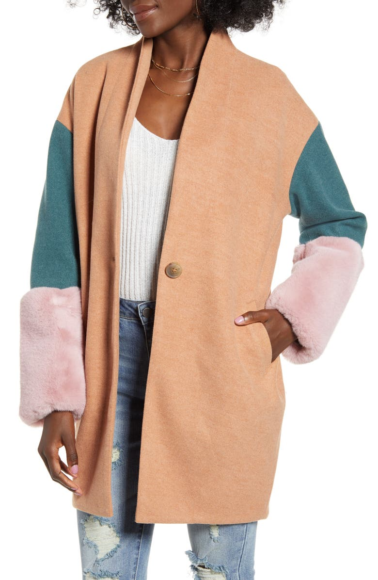 BLANKNYC Out of Office Faux Fur Cuff Coat, Main, color, OUT OF OFFICE