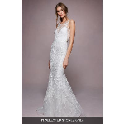 Marchesa Notte Aimee Embroidered Tulle Trumpet Wedding Dress, Size - Ivory