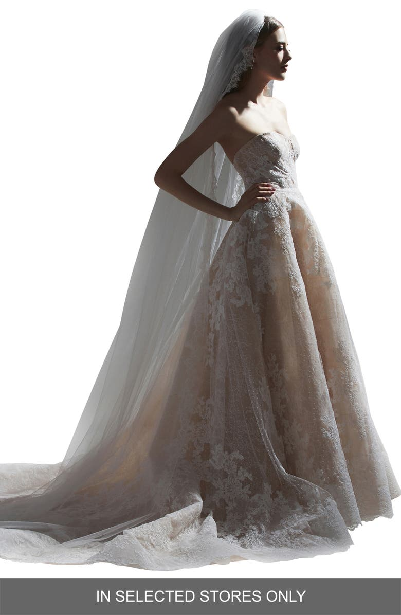 WATTERS Seraphine Strapless Floral Lace Wedding Dress, Main, color, IVORY/ NUDE