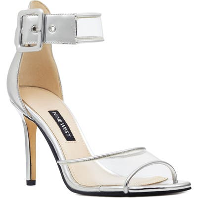Nine West Mila Clear Strap Sandal, Metallic