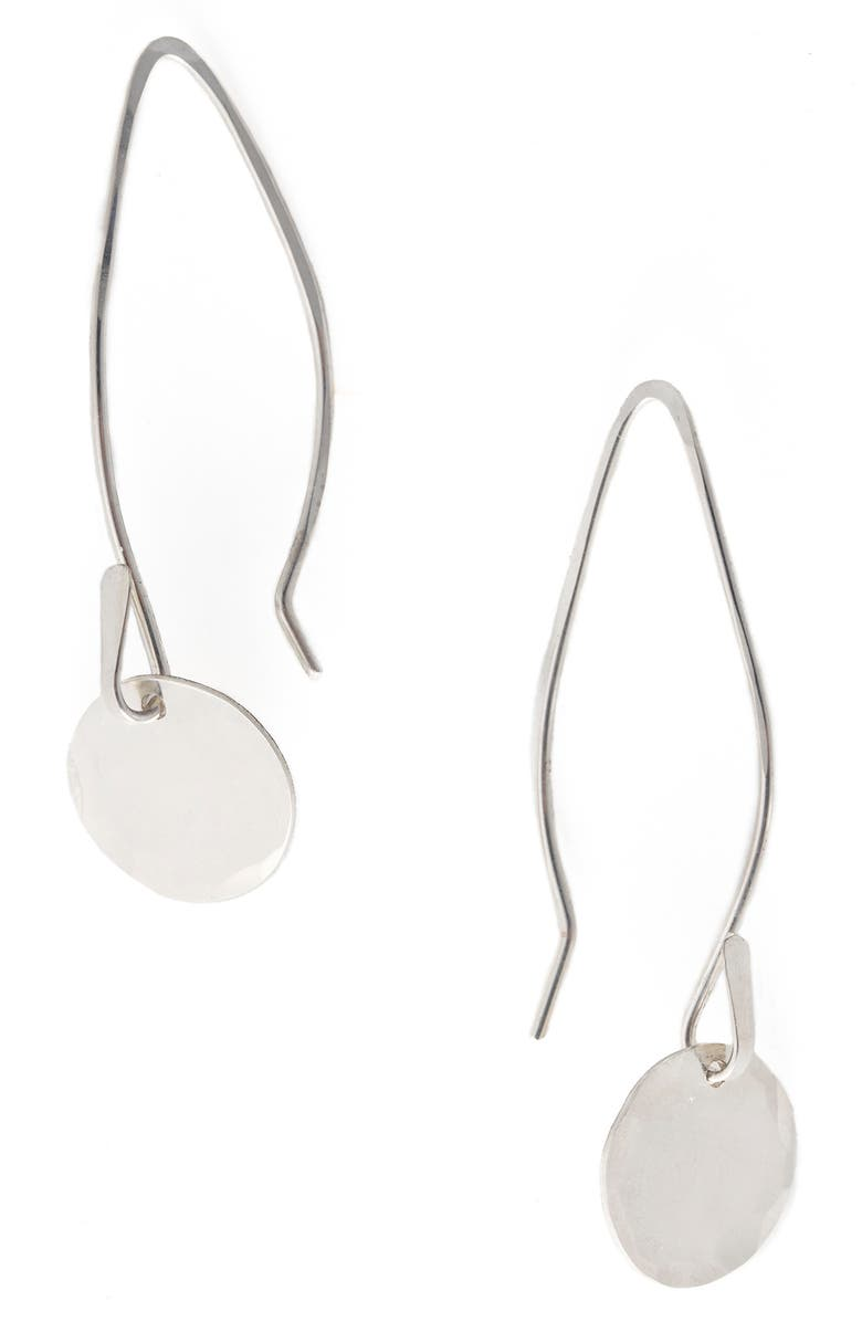TERESSA LANE JEWELRY Betsy Threader Disc Earrings, Main, color, SILVER