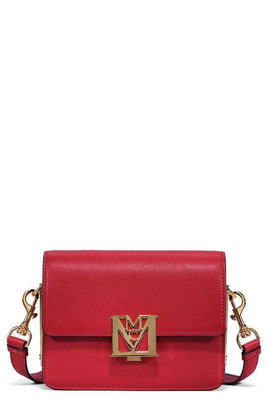 Mcm Mena Colorblock Visetos Leather Shoulder Bag In Ruby Red
