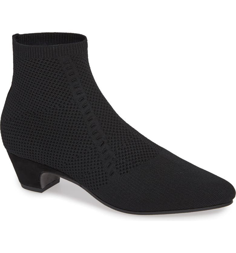 EILEEN FISHER Purl Sock Bootie, Main, color, BLACK STRETCH FABRIC