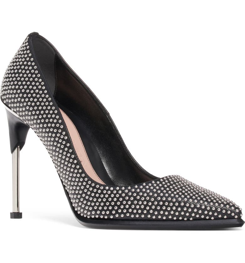 ALEXANDER MCQUEEN Studded Pointed Toe Pump, Main, color, SILVER/ BLACK