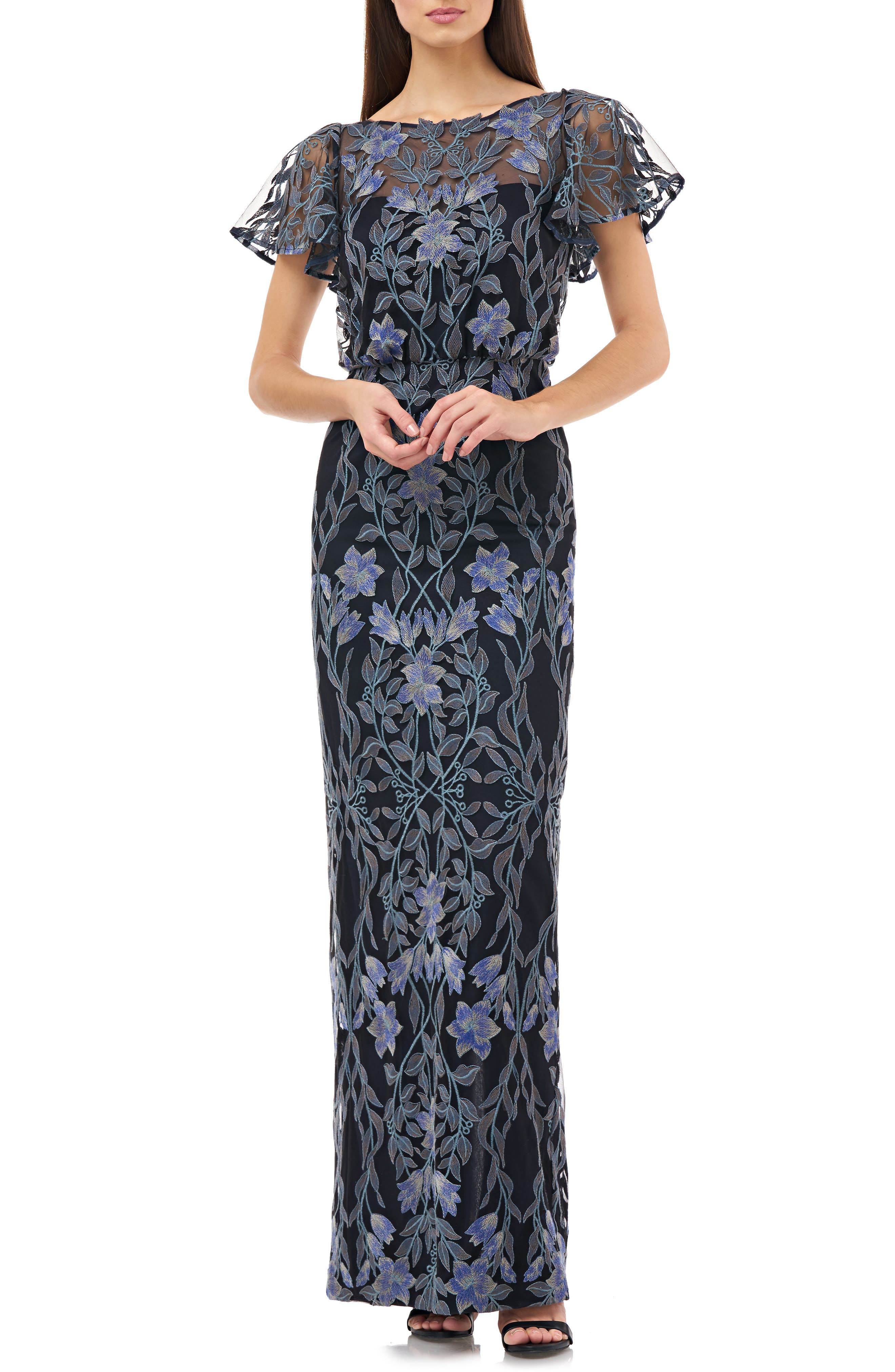 1930s Evening Dresses | Old Hollywood Dress Womens Js Collections Illusion Embroidered Blouson Evening Gown $328.00 AT vintagedancer.com