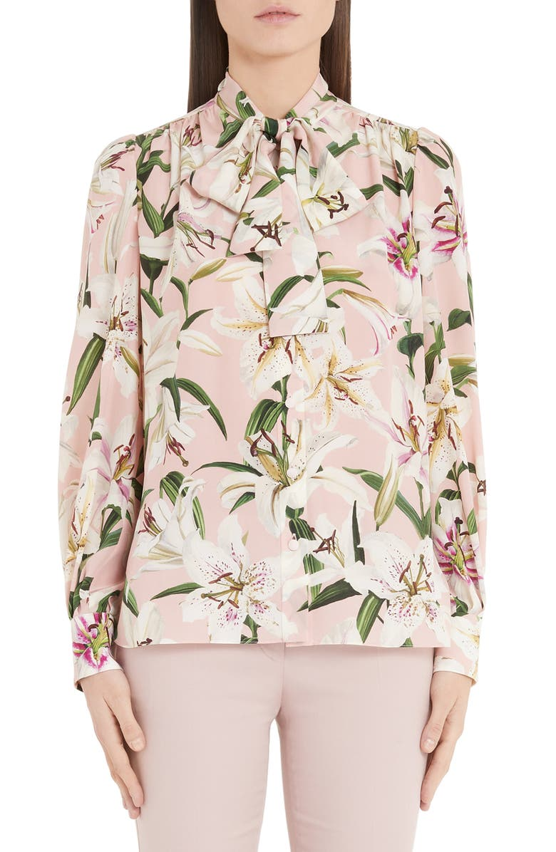 DOLCE&GABBANA Lily Print Bow Neck Blouse, Main, color, PINK LILY