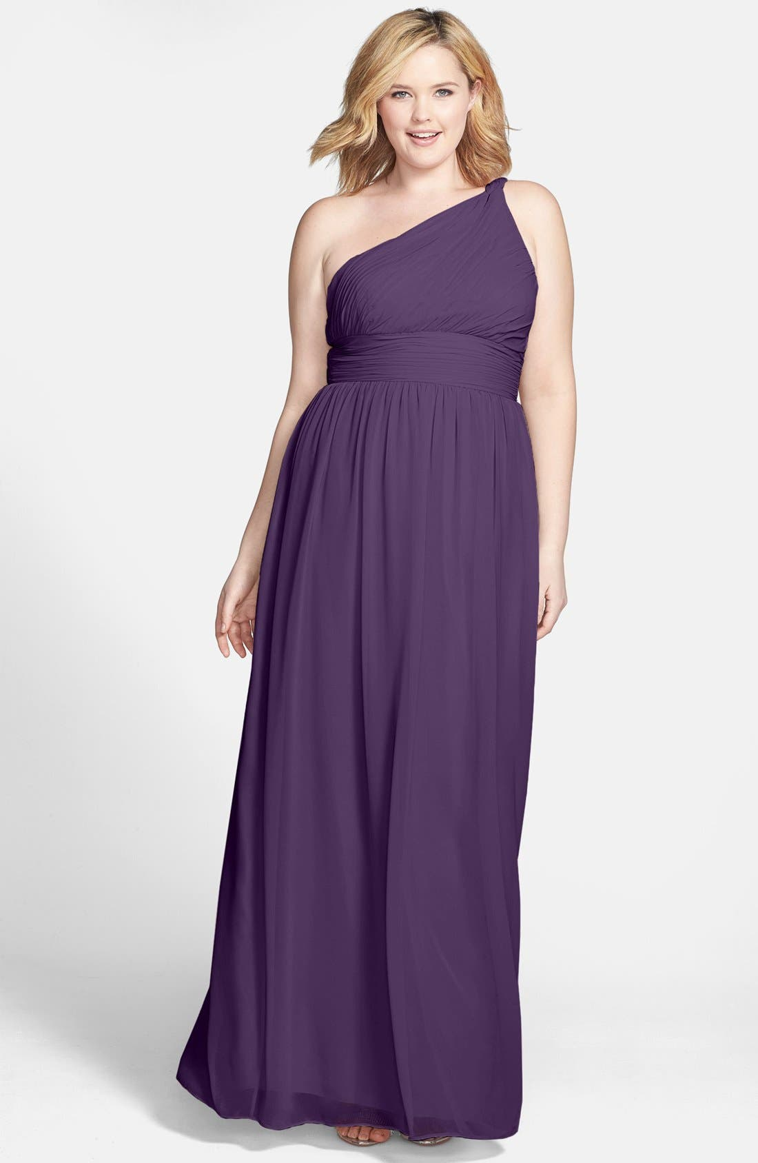 ,                             'Rachel' Ruched One-Shoulder Chiffon Gown,                             Alternate thumbnail 83, color,                             513